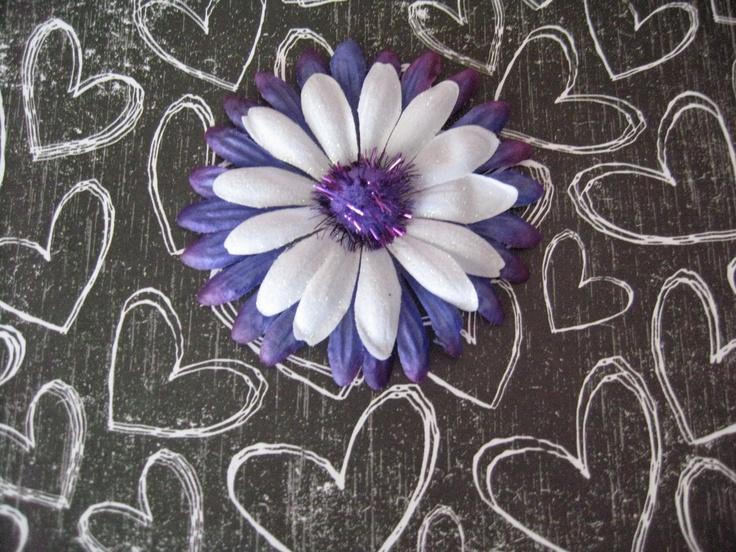 Purple and White sparkle Pom-Pom Fall Daisy Flower Hair Clip. $4.00, via Etsy.