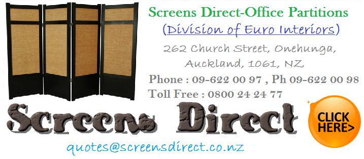Glass Partitions,Screens Direct,Office Furniture Auckland Screens Direct specialises in Office Screens and Commercial wall Partitions. Made In New Zealand Office Screens from Pinable Office Screens to Aluminium edging Hard Screens. We do it all in house. Division of Euro Interiors 262 Church Street Onehunga, Auckland New Zealand 09-63 63 421 Quotes@screensdirect.co.nz http://screensdirect.co.nz/about.html