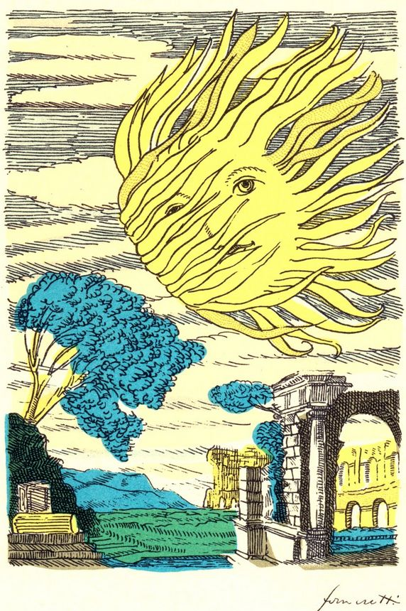 The Sun. By Piero Fornasetti (1913-1988), Tavola n° 3, Marzo (March).