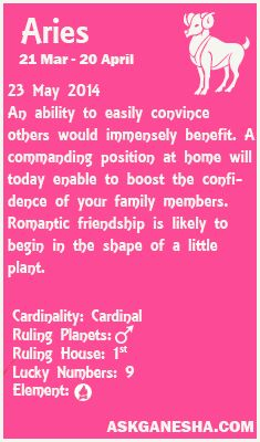 Aries Daily horoscope for 23rd May 2014.