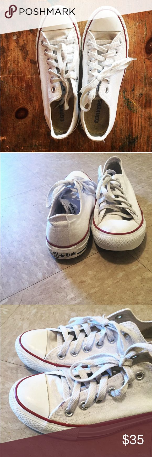 White converse size 7 Clean white low top converse. Great condition. Small black mark near the beginning of laces on left shoe (shown in picture). Converse Shoes Sneakers