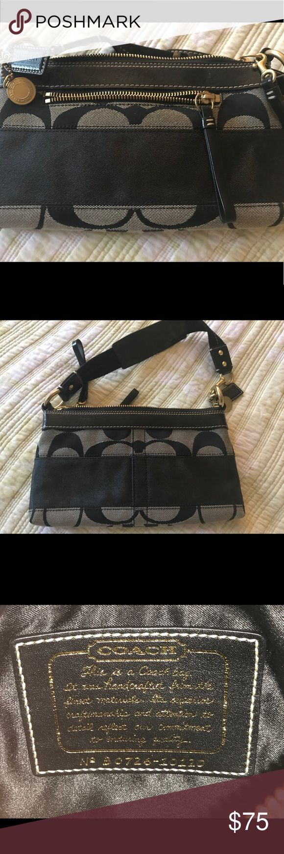 Coach clutch Coach Black and Tan canvas and leather clutch Coach Bags Clutches & Wristlets