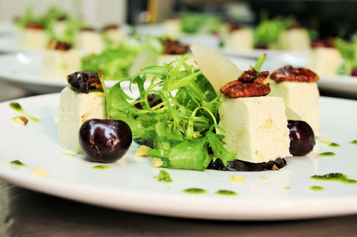 Goats cheese nougat, grilled aubergine, candies walnuts and pear.