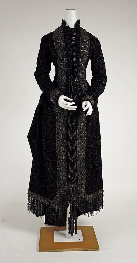 Mourning Dress  Date: ca. 1883 Culture: American Medium: silk, jet Dimensions: Length at CB: 63 1/2 in. (161.3 cm) Credit Line: Gift of The New York Historical Society, 1979