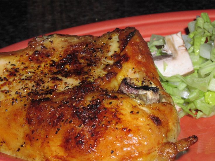 Easy Bone-In (Split) Chicken Breasts. Chicken is baked in broth. I use the broth to cook rice in. Delish.