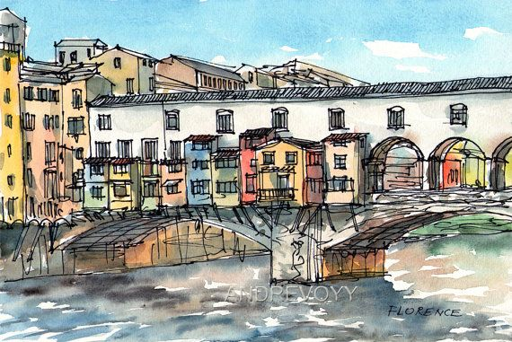 Florence 12 x 8 print of watercolor painting signed by AndreVoyy, $20.00