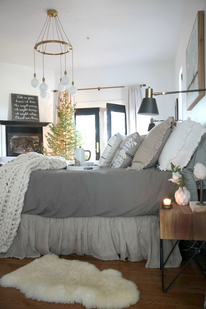 Lambskin rug and bedskirt from birch lane - A Cozy Christmas Bedroom | Creating a Hygge Space
