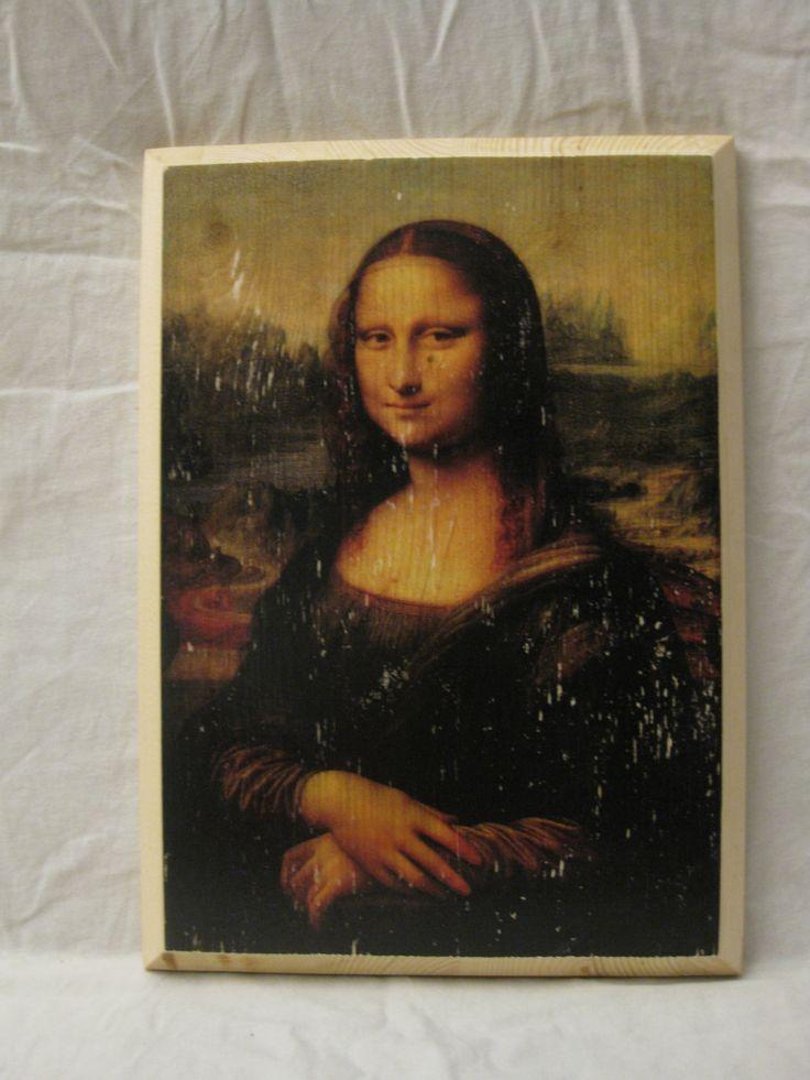 MONA LISA, wood board, wood wall art, Handmade wood print. Home decor, Renaissance Art di KnockOnWoodCraft su Etsy