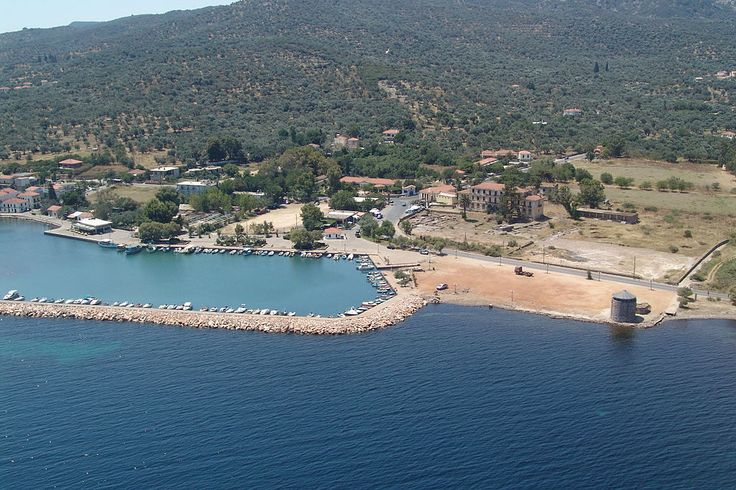 An aerial view of Thermi port,Lesbos island
