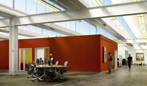 Bright wallsOffices Design, Offices Spaces, Palo Alto, Interiors Design, Industrial Offices, Offices Workspaces, Facebook Offices, Interiors Offices, Accent Wall