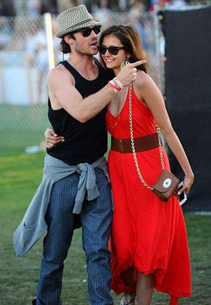 Ian Somerhalder and Nina Dobrev at Coachella. adorbs couple. love her dress.
