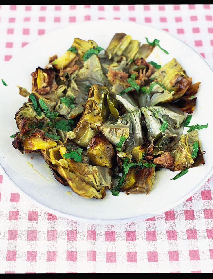 cinder-baked artichokes with lemon, bay & prosciutto   Jamie Oliver   Food   Jamie Oliver (UK)