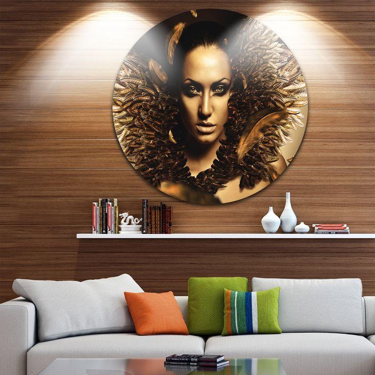 Designart 'Sexy Brunette' Digital Art Portrait Disc Metal Wall Art
