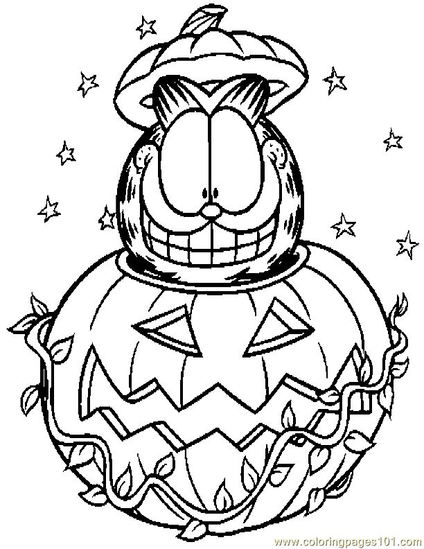 cat halloween coloring pages - Garfield Halloween Coloring Pages