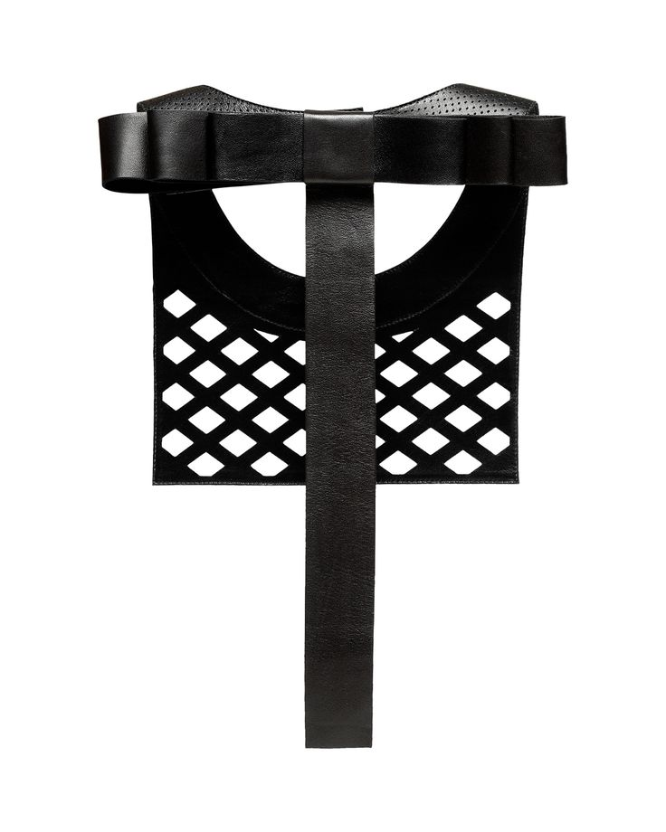 Daniel Havillio leather bib necklace. Athika lamb nappa necklace. Perforated leather & bow. Leather Jewelry. www.danielhavillio.com