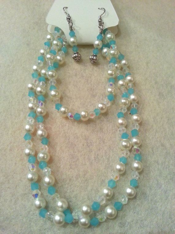 Elegant Set  Ice Blue Swarovski Crystal and by FrantasticCreationz, $20.00