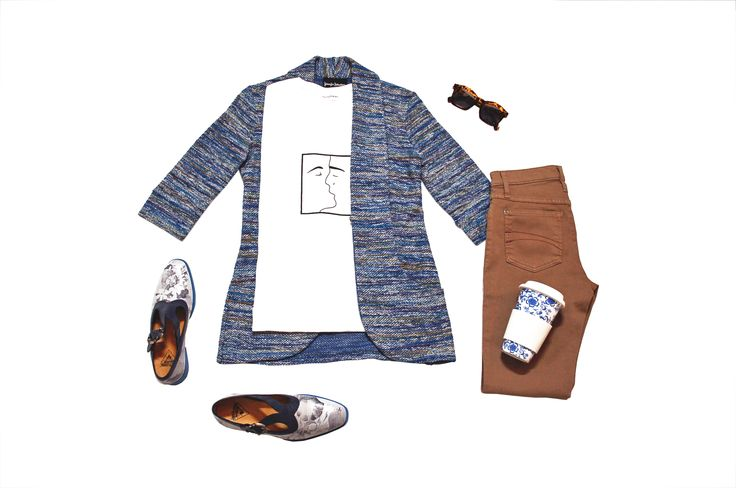 Cardigan in blue cotton tweed with shawl collar and pockets, tobacco coloured jeans by Yoga Jeans, shoes by Fluevog.