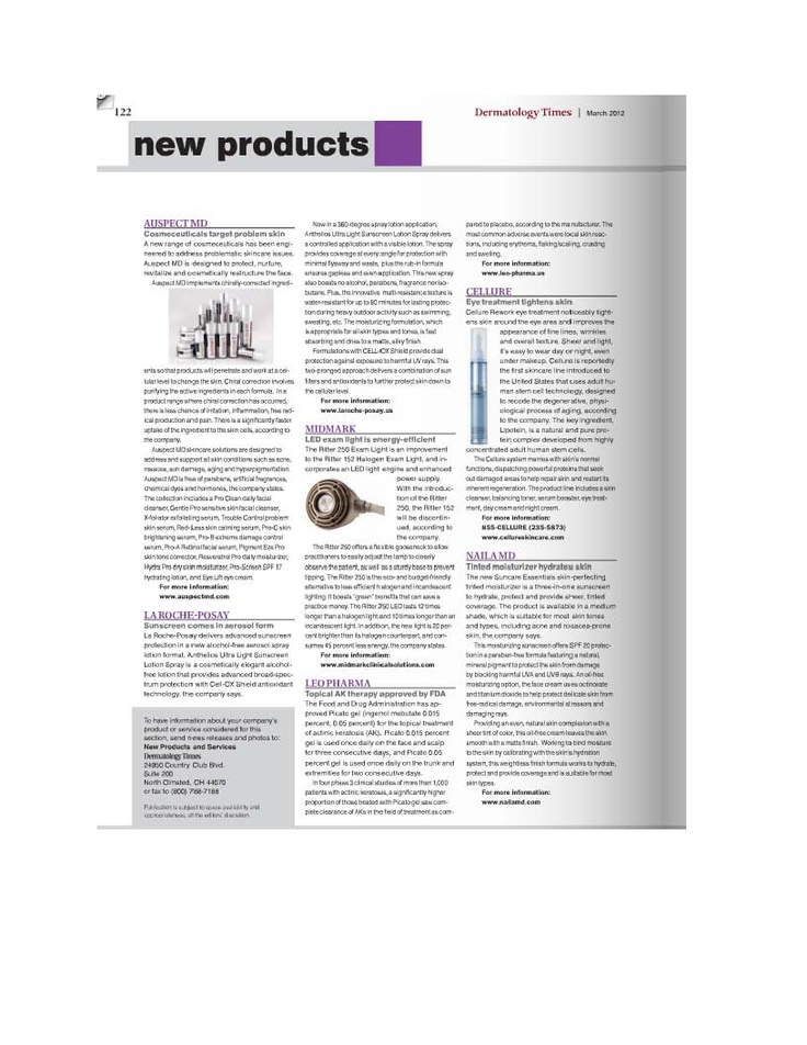 Our SUNCARE  BB Creme in a recent article in Dermatology Times  Click shop.nailamd.com to purchase our BB cremes