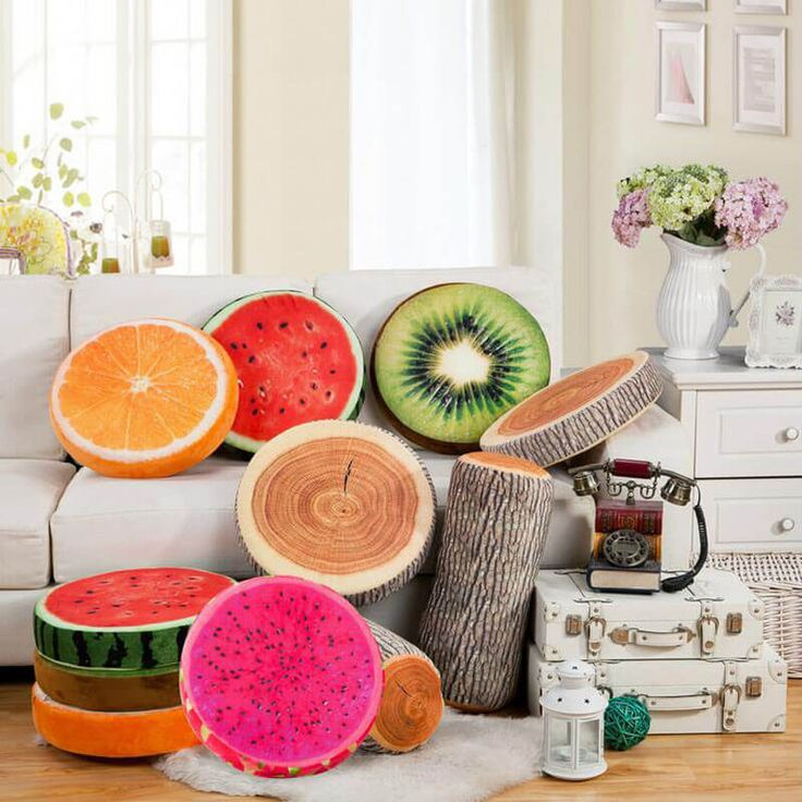 Who wants to sit on a piece of wood or a piece of fruit. #woodpillow #fruitpillow