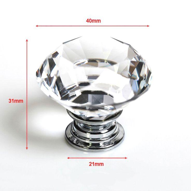 1 pcs 40mm Berlian Batal Kristal Kaca Pintu Tarik Laci Lemari Furniture Menangani Knob Screw Hot Seluruh Dunia