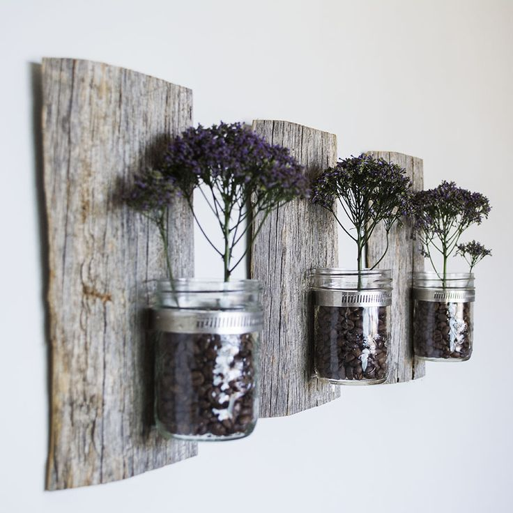 Hanging Barn Board with Glass Jar