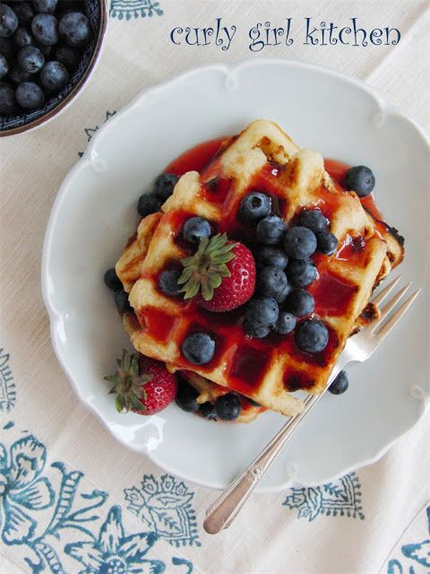 Lemon Yogurt Waffles with Berries and Strawberry Rhubarb Syrup