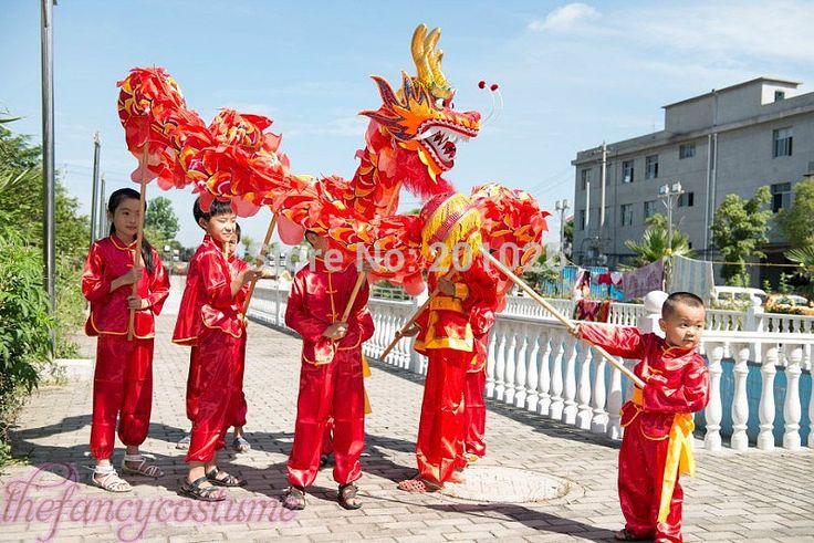 Дешевое детей размер китайский дракон танец 5,5 м фольклорный фестиваль празднования 10 костюм детей играть, Купить Качество Прочие товары для спорта и развлечений непосредственно из китайских фирмах-поставщиках: descriptiionэто для 5-7 лет детских игр. глава дракон о 0.8kg, длина 0,35 м. диаметр дракон тела является 0.20m. выше сп