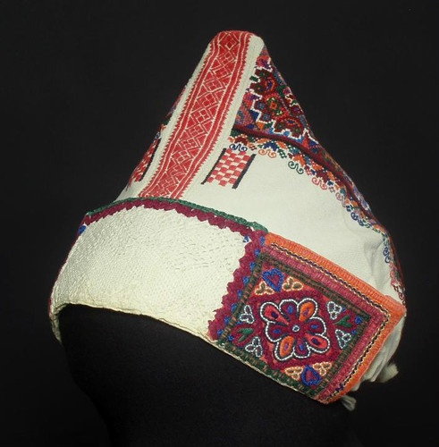Antique Slovak Headdress Embroidered Wedding Bonnet Ethnic Kroj Polomka Zavadka