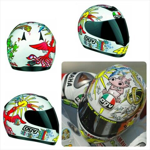 AGV Rossi White Zoo Helmet (Valencia 2005) To celebrate retaining his world championship title, Rossi had a custom designed helmet created by Aldo Drudi that featured a cartoon 'zoo' of exotic animals, as well as his trademark sun and moon motifs. A bright red phoenix can be seen on the rear of the helmet rising towards the sun, and a hippo sits on the top facing forwards. Various other cartoon birds can be see towards the top of teh helmet, while the basefeatures sea-life like fish and…