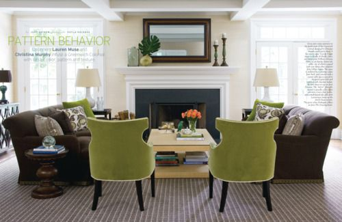 CHIC...love everything about this room, especially the green chairs: Decor, Colors Combos, Living Rooms, Leather Couch, Interiors Colors, Colors Combinations, Colors Schemes, Green Chairs, Families Rooms
