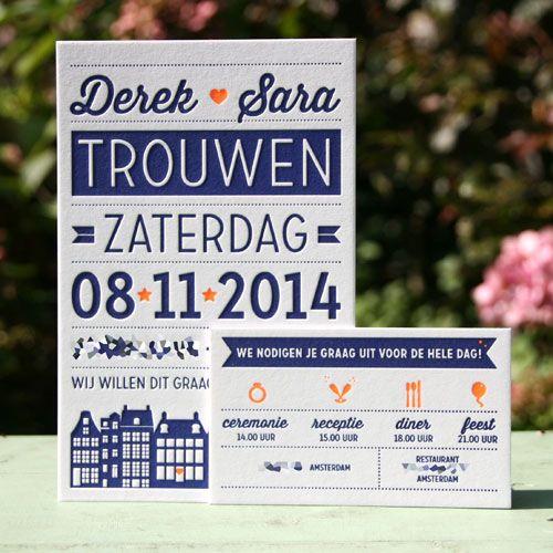 Voor Derek en Sara mochten we hun trouwkaart ontwerpen en drukken! We hebben Amsterdamse grachtenpanden terug laten komen aan de onderkant van de kaart en gedrukt in een mooie donker blauwe kleur met fluor oranje. Voor de dag-, avond en receptie hebben we verschillende kleine kaartjes gedrukt die ze bij de grote kaarten hebben verstuurd. Een prachtig setje!  Dit is een vanaf prijs voor letterpers, op basis van 125 stuks met 1 kleur, inclusief de smalle kaarten met 1 tekstwissel. De kaarten…