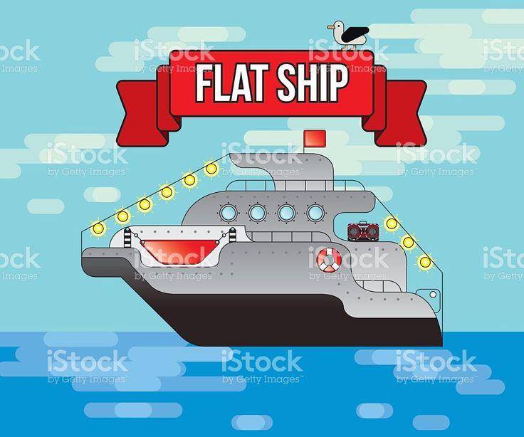flat vector ship, Sea transport, illustration, cruise transports tourists,Tourism royalty-free stock vector art