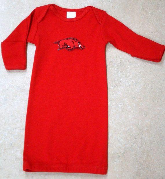 Arkansas Razorback Baby Layette Gown on Etsy, $19.99