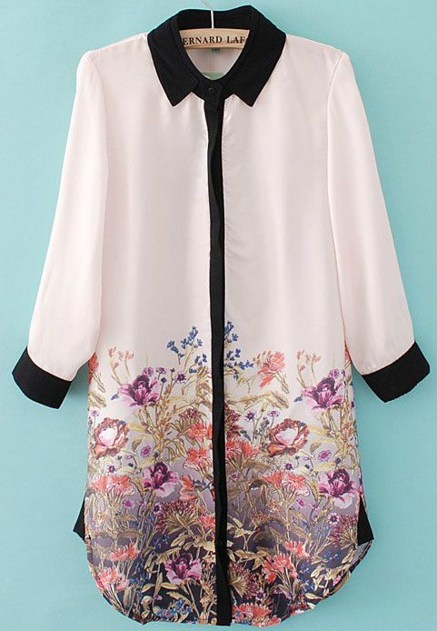 Light Pink Long Sleeve Contrast Trims Floral Chiffon Blouse - Sheinside.com