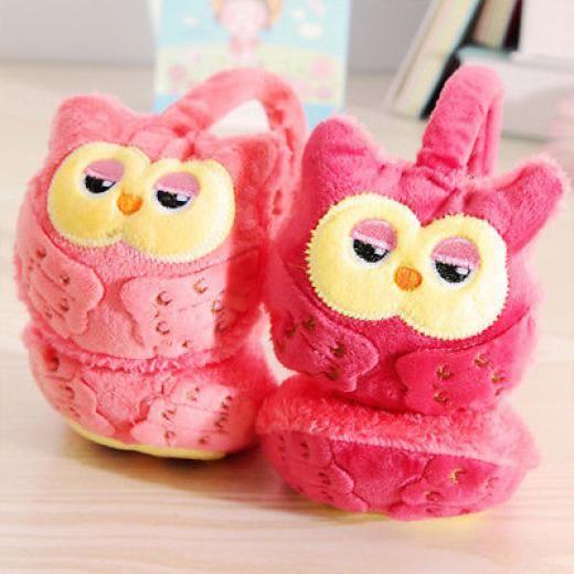 Kids Cartoon Owl Ear Muff Plush Warm Earmuff Warmer Winter Random Color