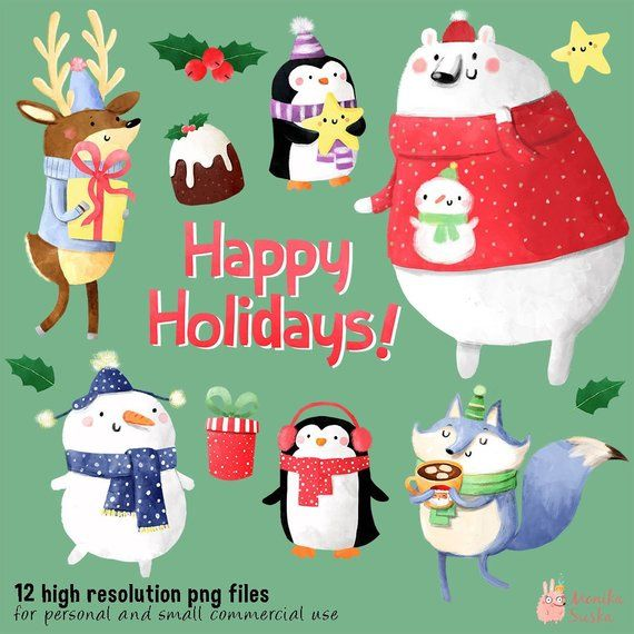 Christmas Clipart Cute Holidays Clipart Cute Animals Winter Etsy Christmas Clipart Holiday Clipart Christmas Cards To Make