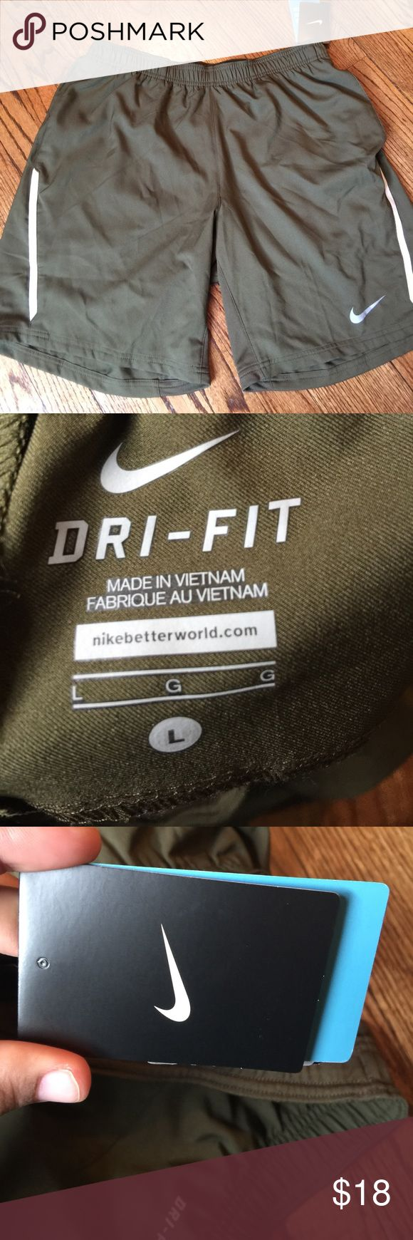 NWT Men's Nike dri fit shorts size large green NWT Nike dri fit shorts. Army green in color. Nike Shorts Athletic
