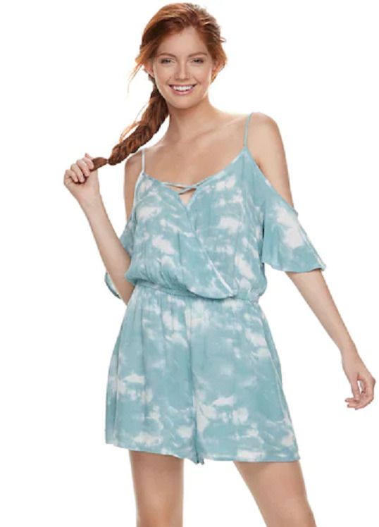 01df5330801c Mudd Romper Jumpsuit Blue Tie-Dye Wrinkle Fabric Juniors Size S  fashion   clothing  shoes  accessories  womensclothing  jumpsuitsrompers (ebay link)