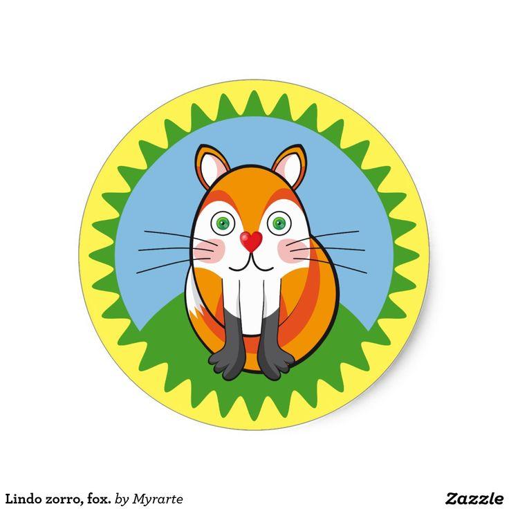 Lindo zorro, fox. Producto disponible en tienda Zazzle. Product available in Zazzle store. Regalos, Gifts. Link to product: http://www.zazzle.com/lindo_zorro_fox_classic_round_sticker-217814809130013570?CMPN=shareicon&lang=en&social=true&rf=238167879144476949 #sticker #zorro #fox