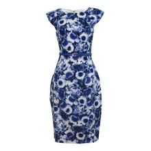 Zapara Blue Flower Graphic Pattern Print Dress