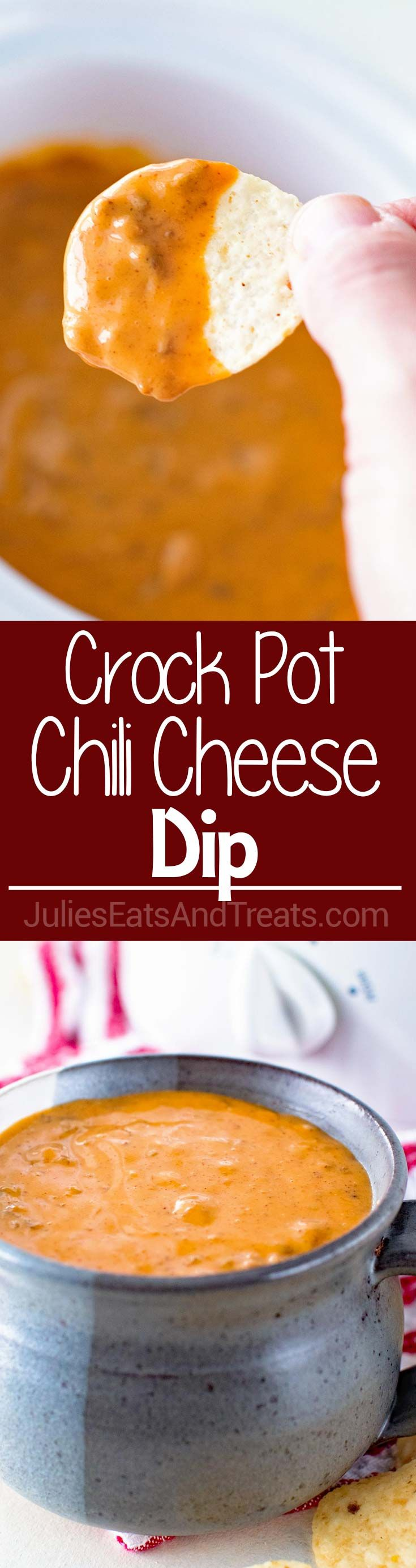 Crock Pot Chili Cheese Dip ~ Two Ingredient Chili Cheese Dip Perfect for a Quick, Easy Appetizer at Parties! via @julieseats
