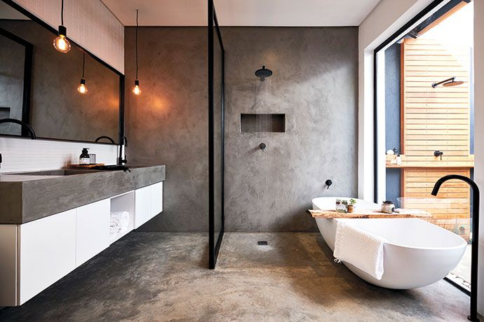 Create A Concrete Feature Wall Visi Restroom Design Modern Bathroom Design Bathroom Design