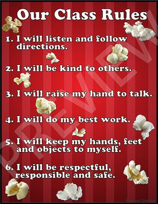 Popcorn Themed Classroom Rules Sign from Johnson Creations on TeachersNotebook.com (2 pages)