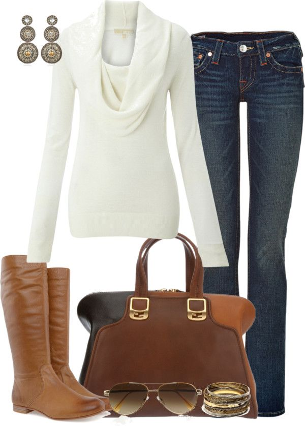 FallCasual Outfit, White Sweaters, Style, Casual Fall, Jeans, Fall Fashion, Fall Outfit, Brown Boots, Cowls