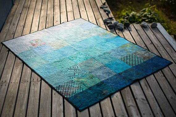 Modern Quilts Turquoise Ocean Quilt Custom Sizes от btaylorquilts