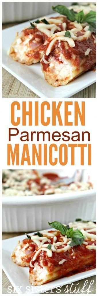 Chicken Parmesan Manicotti from Sixsistersstuff.com