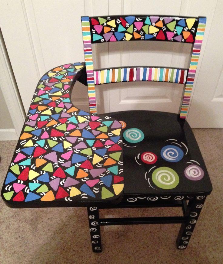 mosaic painted school desk