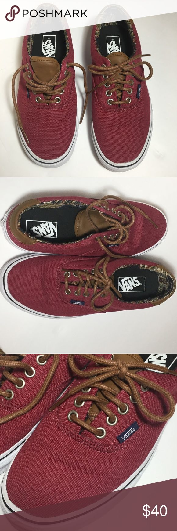 VANS C&L ERA Burgundy size 8.5 women's - 7 men's Only worn once! In like new condition. Low top lease up the vans with brown leather tongue and heal. Tapestry design inside of shoe. Brown laces. Burgundy color, I think Vans calls it Port Royale. Around ankle has cushion support. US women's 8.5 US men's 7.0 Great all year long shoe. You can't go wrong with a classical pair of vans! Thanks for visiting my closet feel free to look around!🤗 Vans Shoes