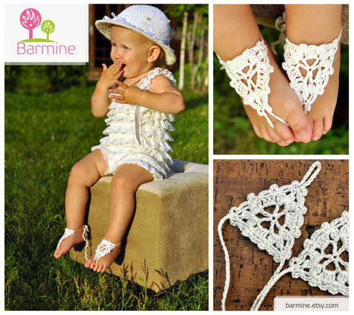 Beach wedding White and Pearl Crochet wedding Barefoot by barmine
