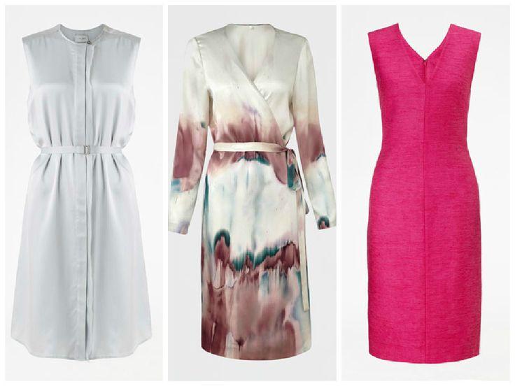 Summer dress by Jigsaw, silver dress, pink dress and wrap dress.